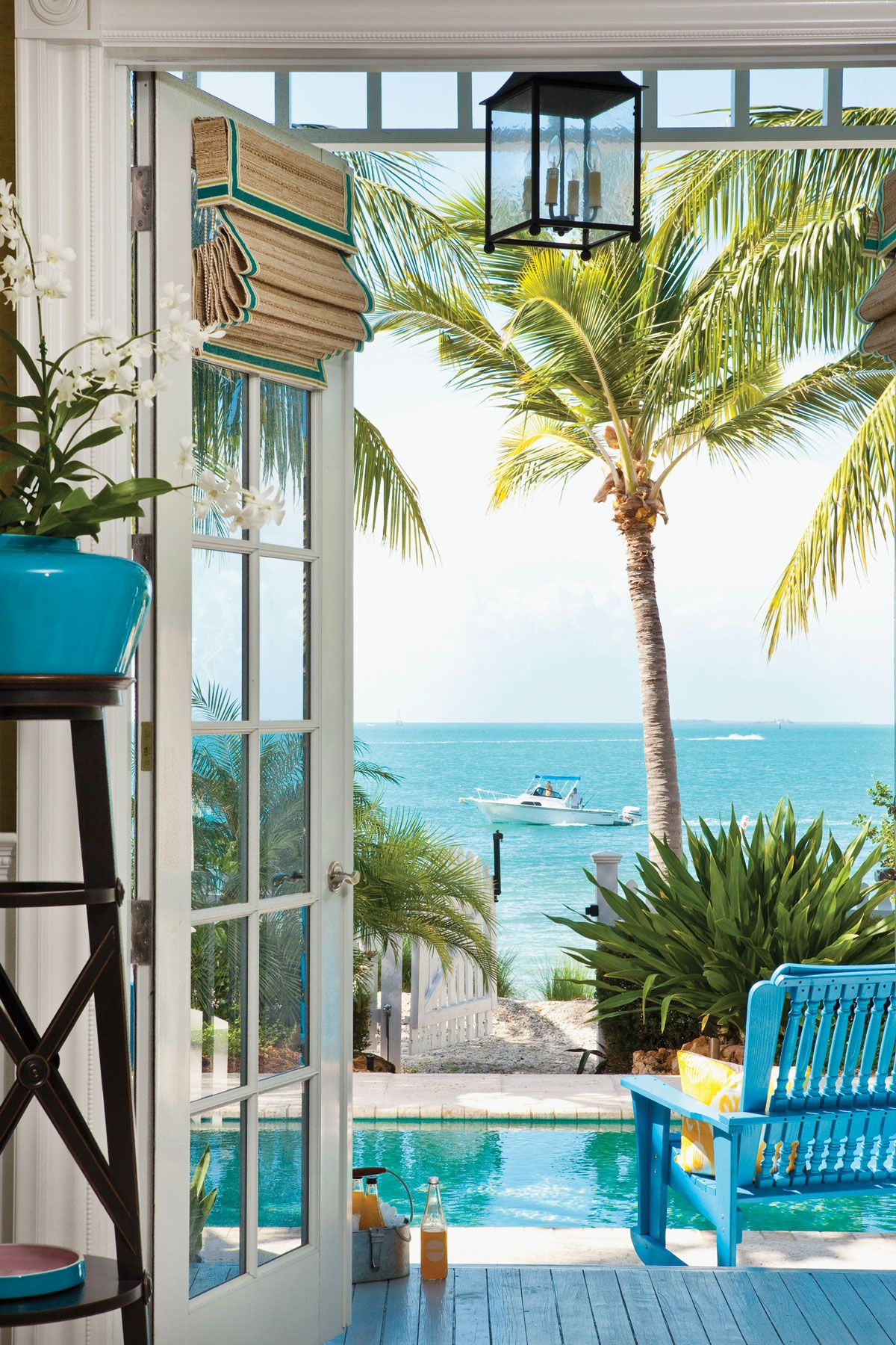 French Doors open to the ocean in Sunset Key Florida Architect