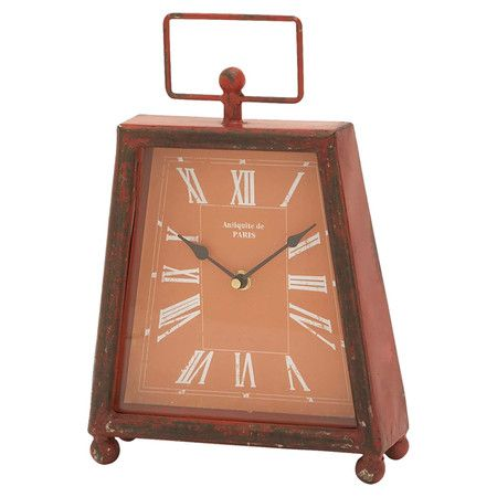 Distressed metal desk clock  Product: Desk clockConstruction Material: MetalColor: Red