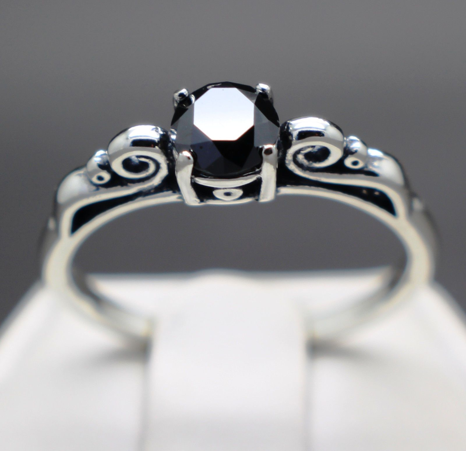 jewelry 67cts 5 70mm Natural Black Diamond Ring Certified AAA