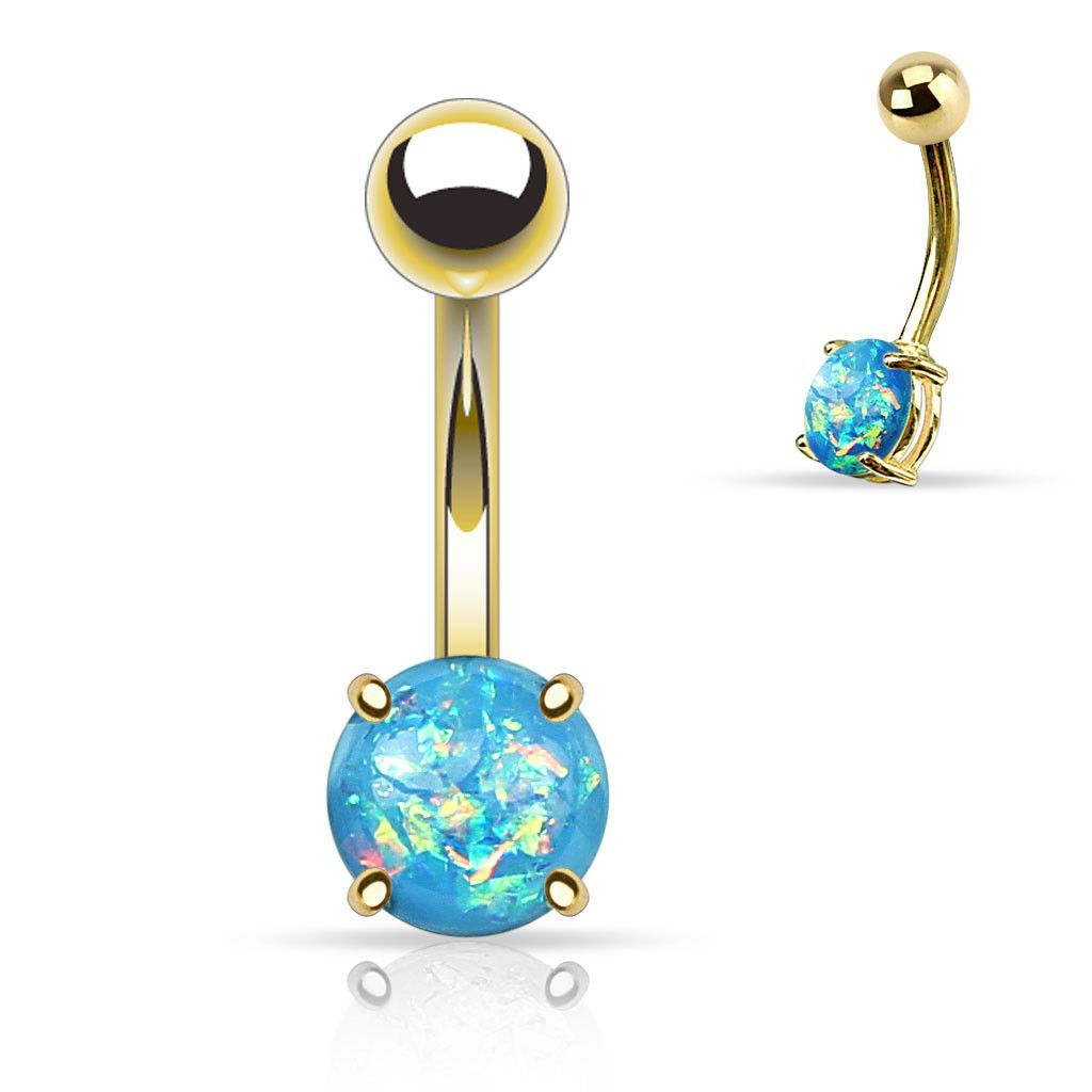 Gold belly piercing jewellery  Aqua Opal Belly Button Rings Non Dangle Gold Belly Ring  Opal