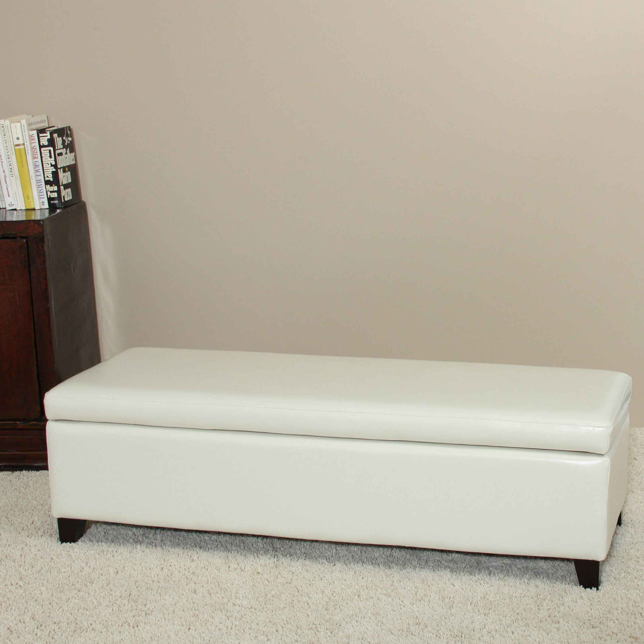 This Ivory Bonded Leather Storage Ottoman Bench Features Hidden Storage  Space That You Can Easily Access