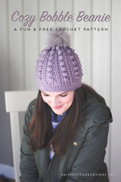 Bobble Beanie Crochet Pattern Pinterest Cottage Design Hat