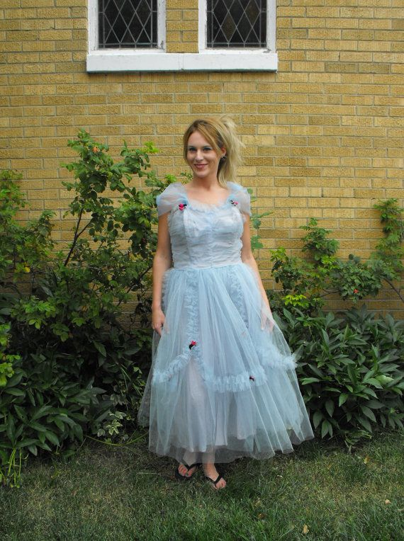 Vintage 50s Prom Dress Blue Tulle Gown S M Cupcake by soulrust ...