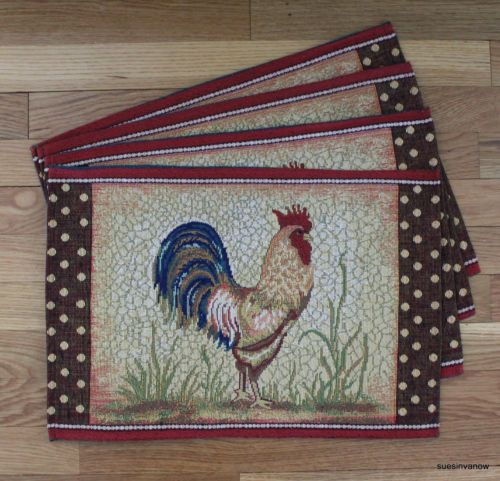 Rooster Placemats Kitchen Dining Table Set Of 4 Tapestry Country Farm Theme