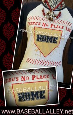 There's  no place like home vintage screened baseball mom girlfriend tee, this tee is great for ballgames, softball or baseball.