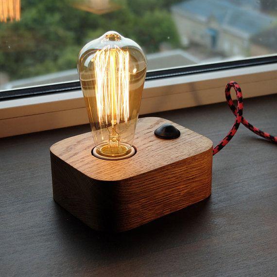 Edison Bulb Floor Lamp Canada: Edison Lamp,Wood Lamp,Wooden Edison Lamp,Table Lamp,Solid