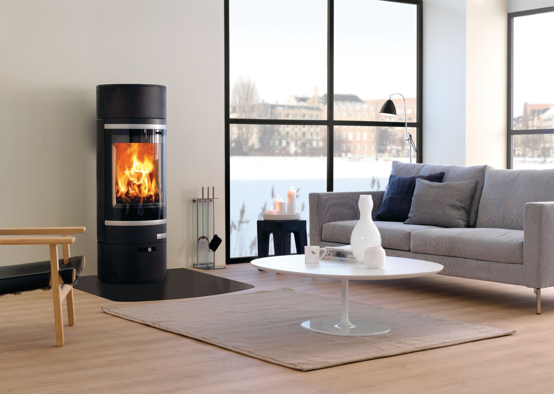 Poªle  bois Scan 85 pour larges b ches Scan stove for large logs