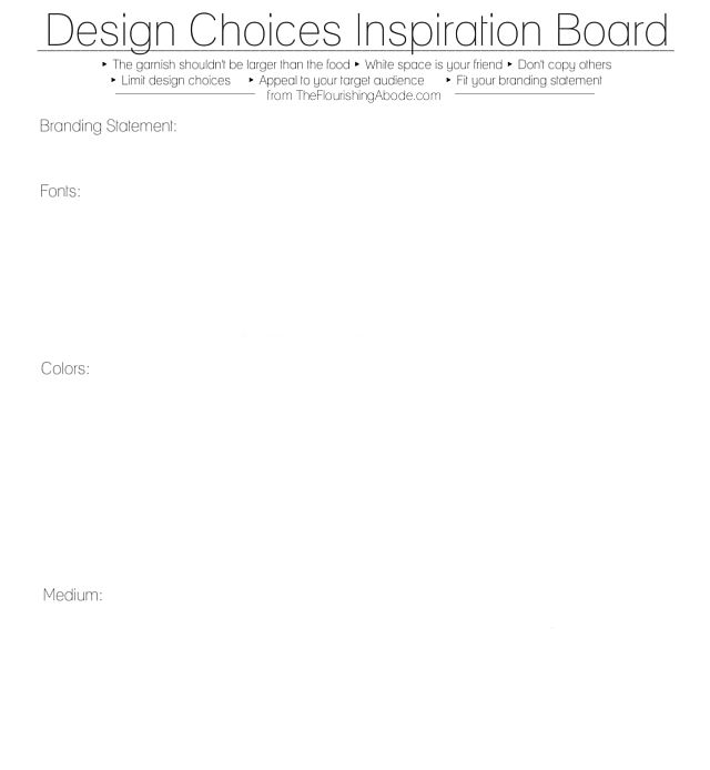 Design Choices Inspiration Board Worksheet From