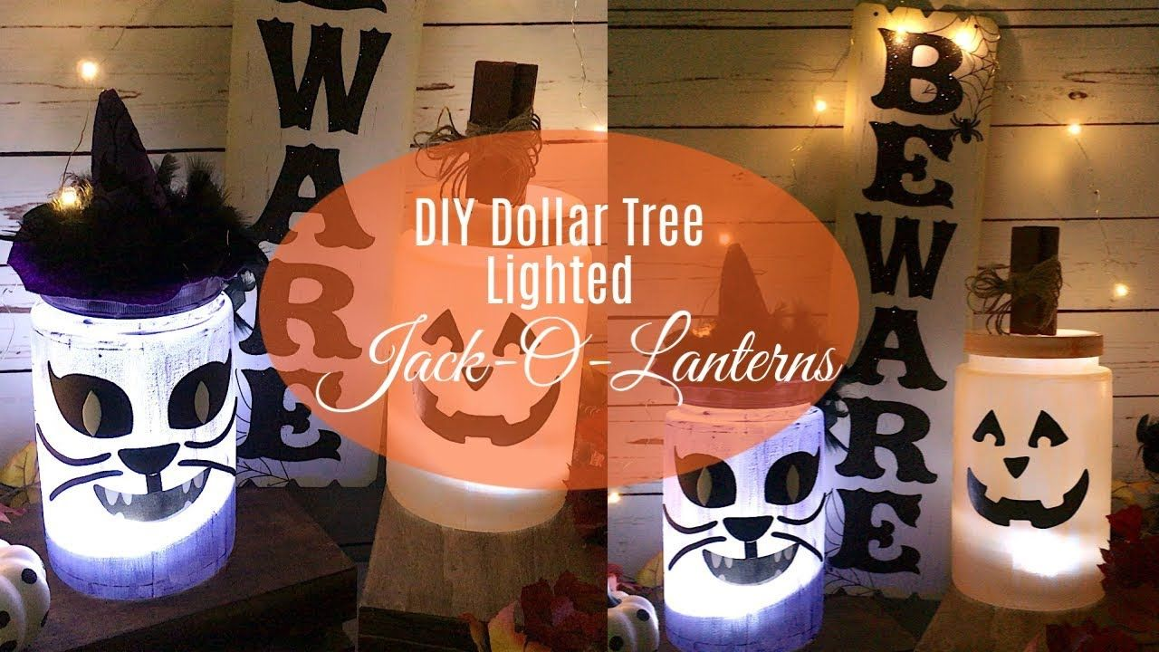 DIY DOLLAR TREE LIGHTED JACKOLANTERNS FALL INDOOR