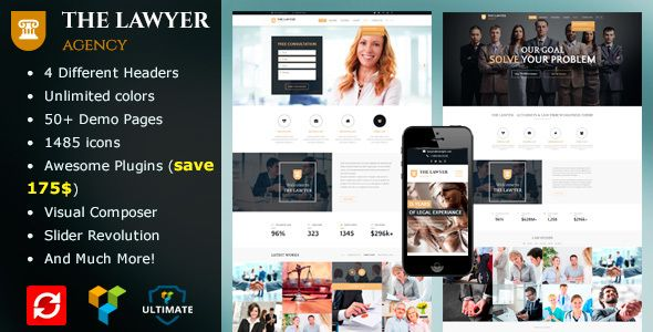 The Lawyer - Law Firm WordPress Theme | Website themes, Template and ...