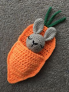 Rabbit in a Carrot Sleeping Bag pattern by Laura Sutcliffe