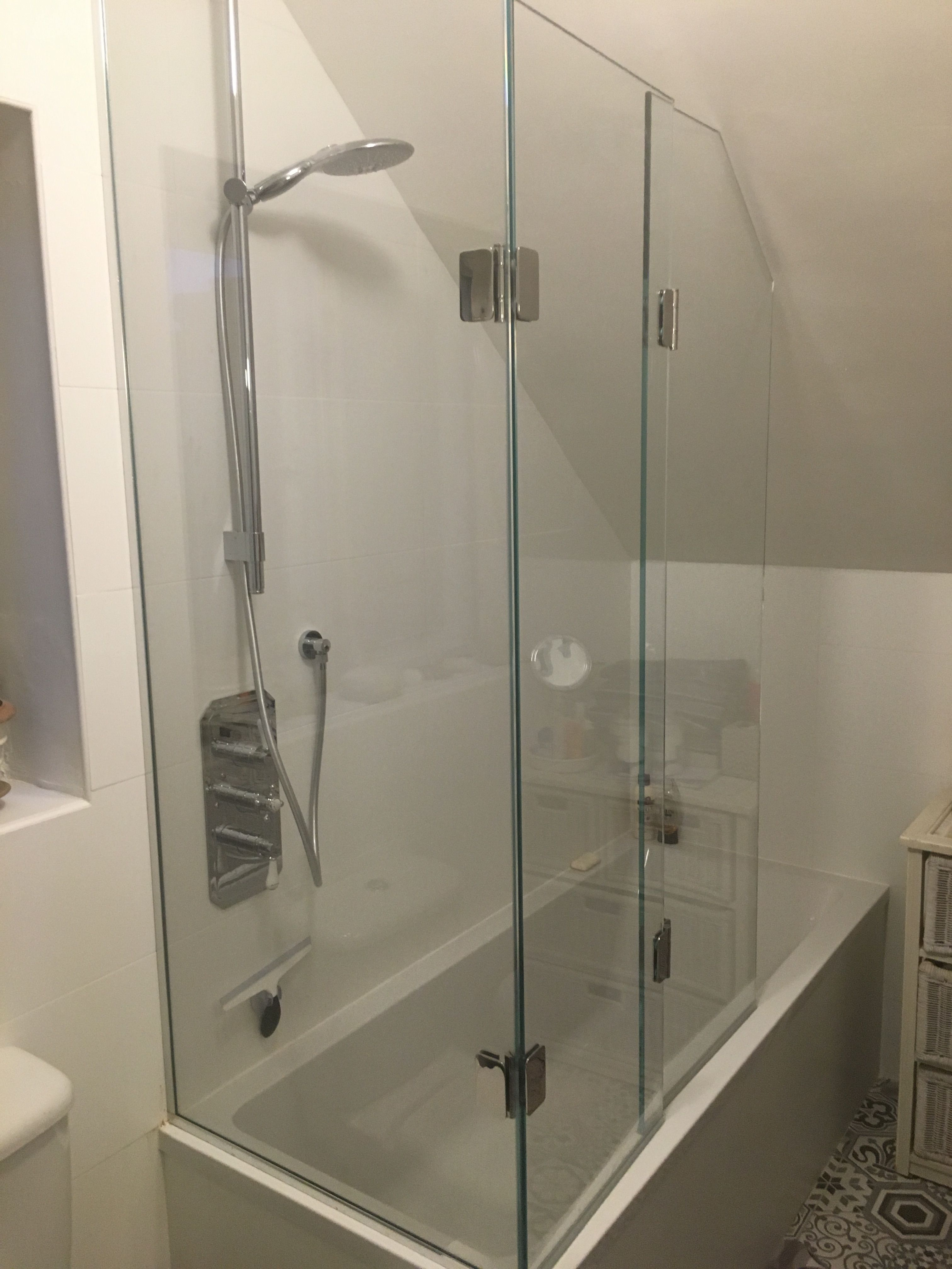 Frameless Bifold Bath Shower Screen To Open Ended Bath