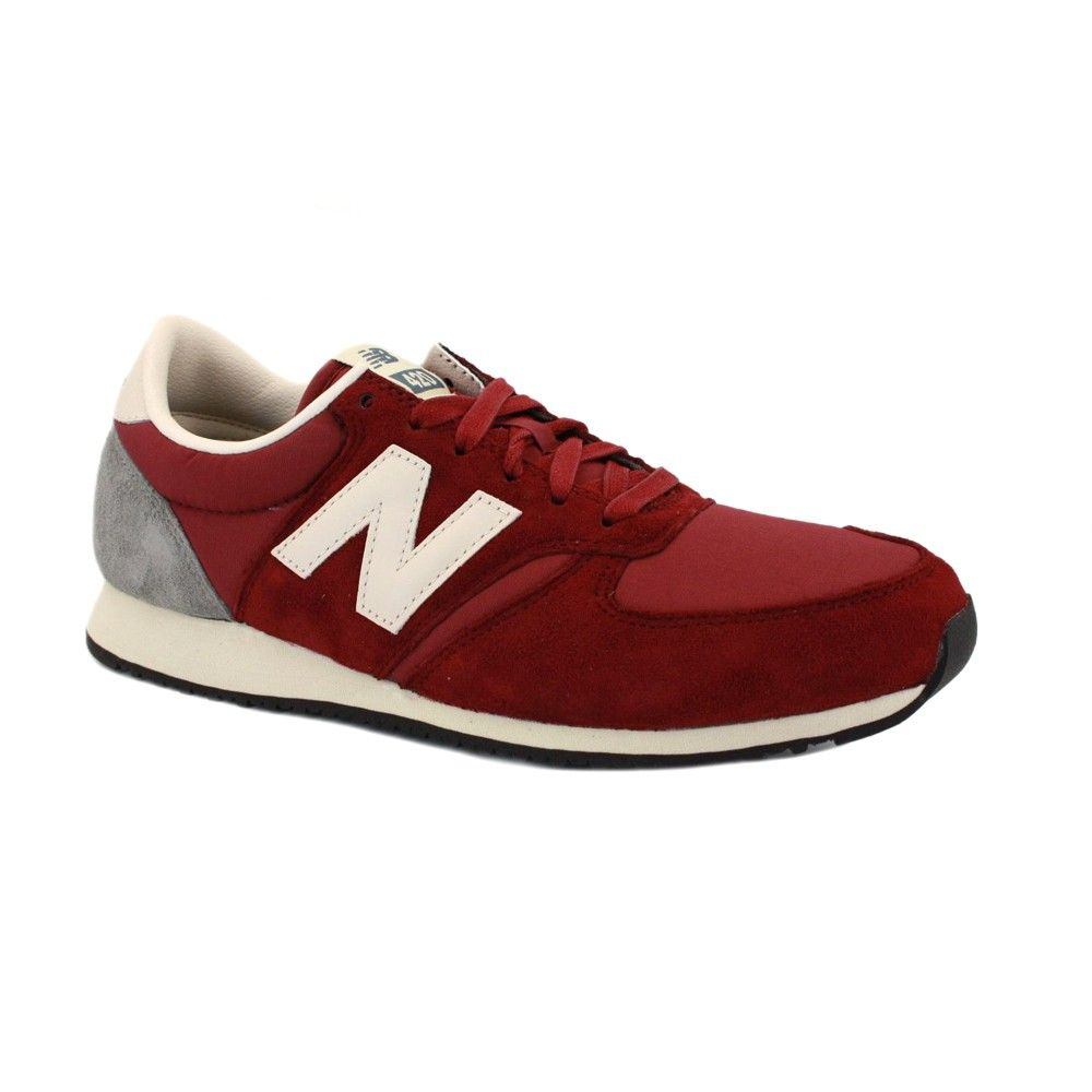 New Balance 420 U420SRDR Womens Laced Suede & Nylon Trainers Burgundy White
