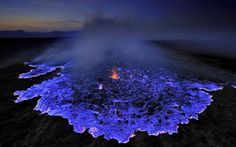 Blue Volcano in Danakil, Ethiopia: This cerulean eruption takes place in the Danakil Depression, a low-lying plain in Ethiopia.