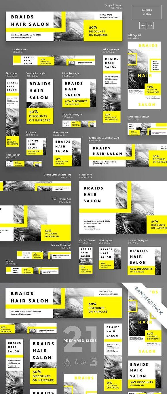 Banners Pack | Braids Hair Salon | Banners | Web banner ...