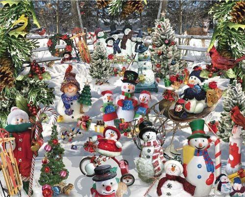 Snowman Puzzle- 1000 Pieces-White Mountain Puzzles Projects