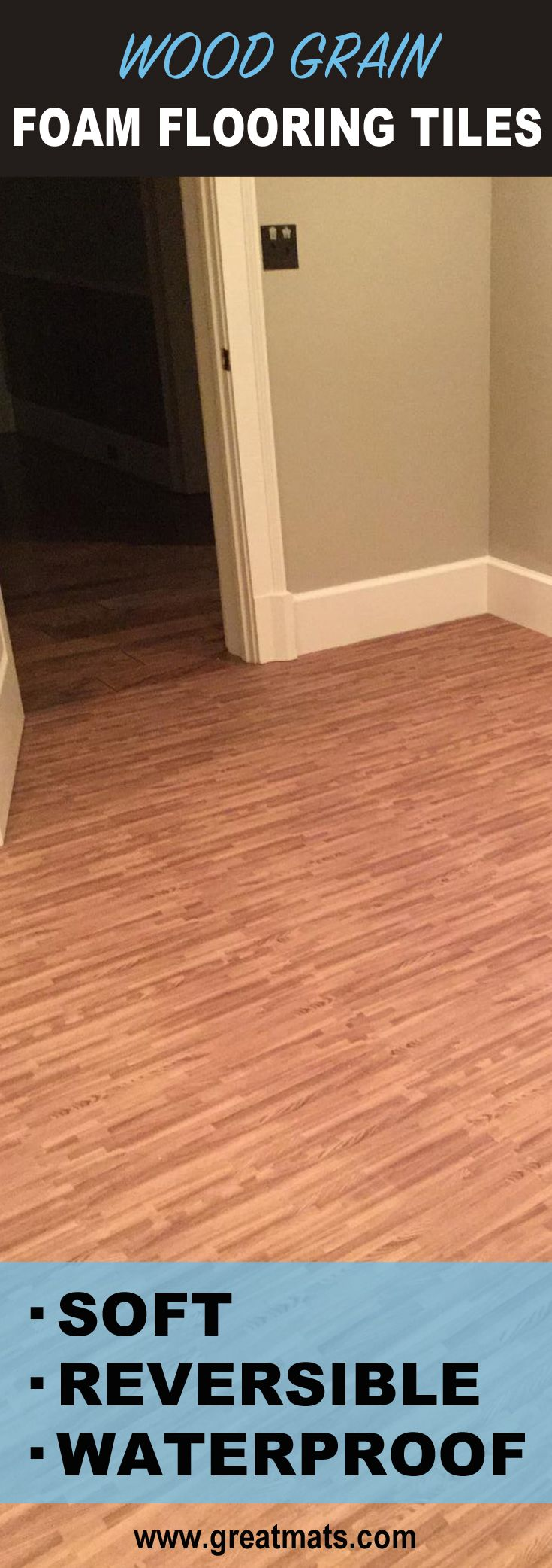 Soft wood grain flooring tiles for basements bedrooms playrooms interlocking floor tiles with a wood grain foam tile look these interlocking foam tiles offer a durable and soft flooring surface in wood tile design dailygadgetfo Gallery
