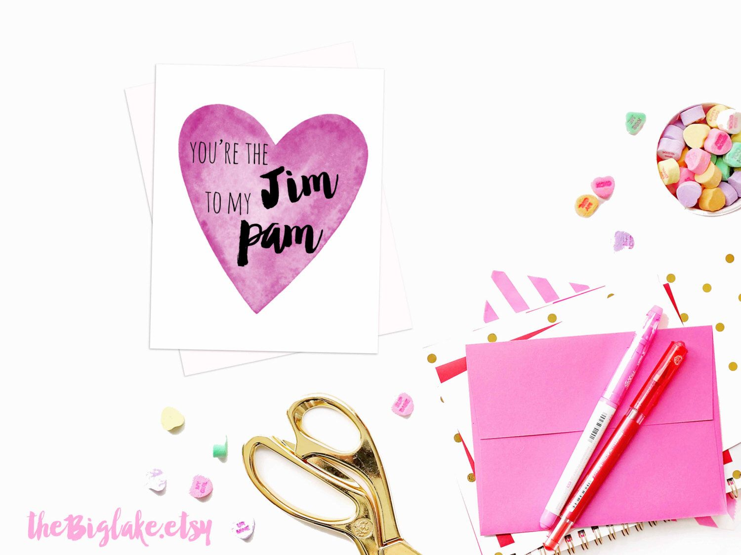 The Office Themed Card Jim And Pam Love Valentine Greeting