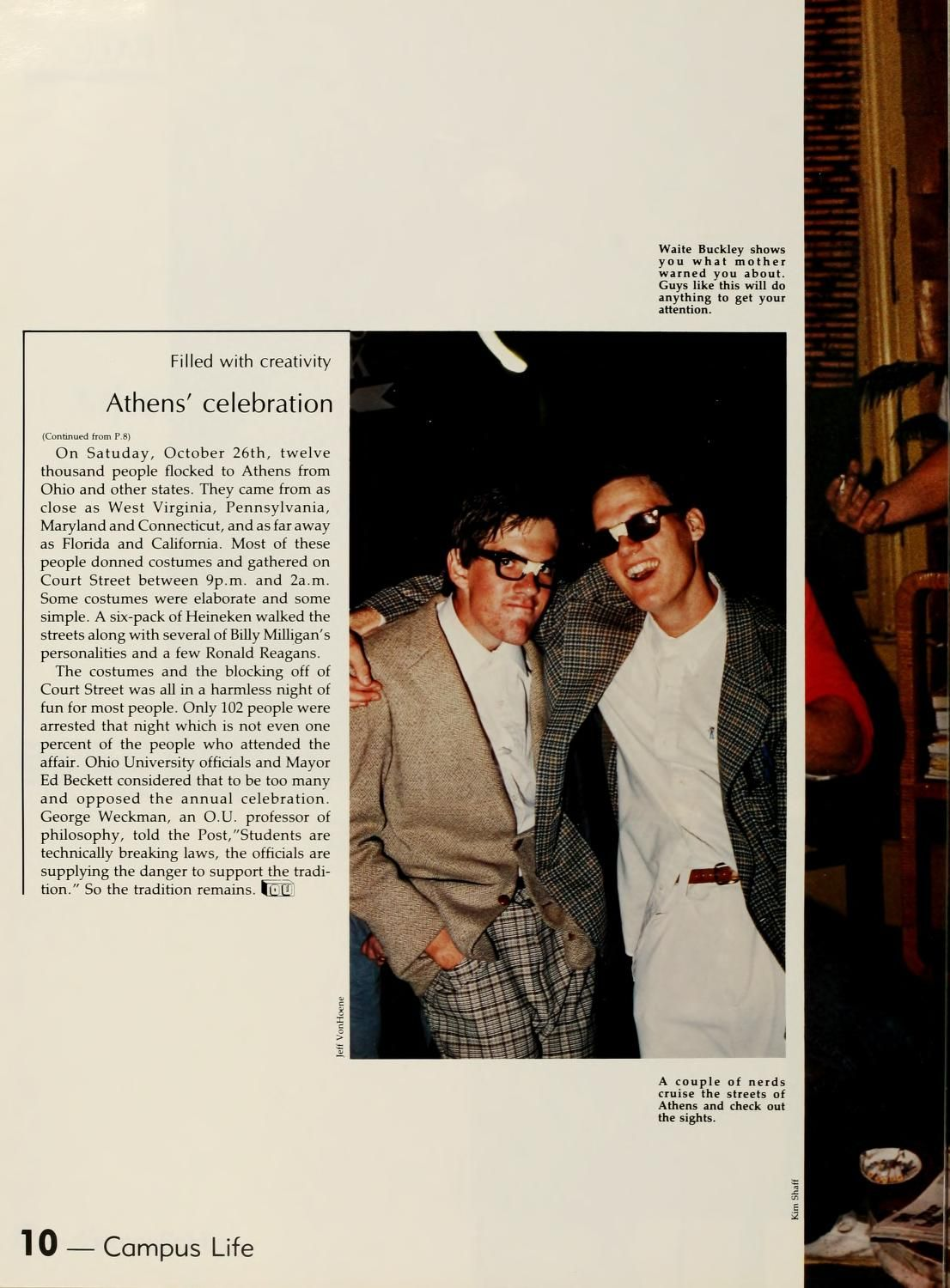 """Athena yearbook, 1986. """"A couple of nerds cruise the streets of Athens and check out the sights"""" at Athens' Halloween party. :: Ohio University Archives"""