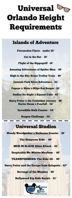 Height Requirements At The Universal Orlando Resort Universal Studios Rides Universal Studios Orlando Rides Universal Vacation