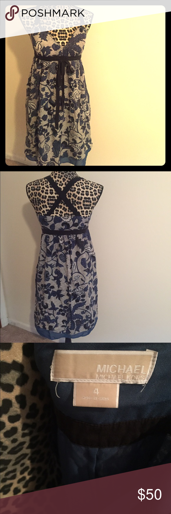 Michael Kors sundress Good condition, cups are padded so no need for a bra! Michael Kors Dresses Midi