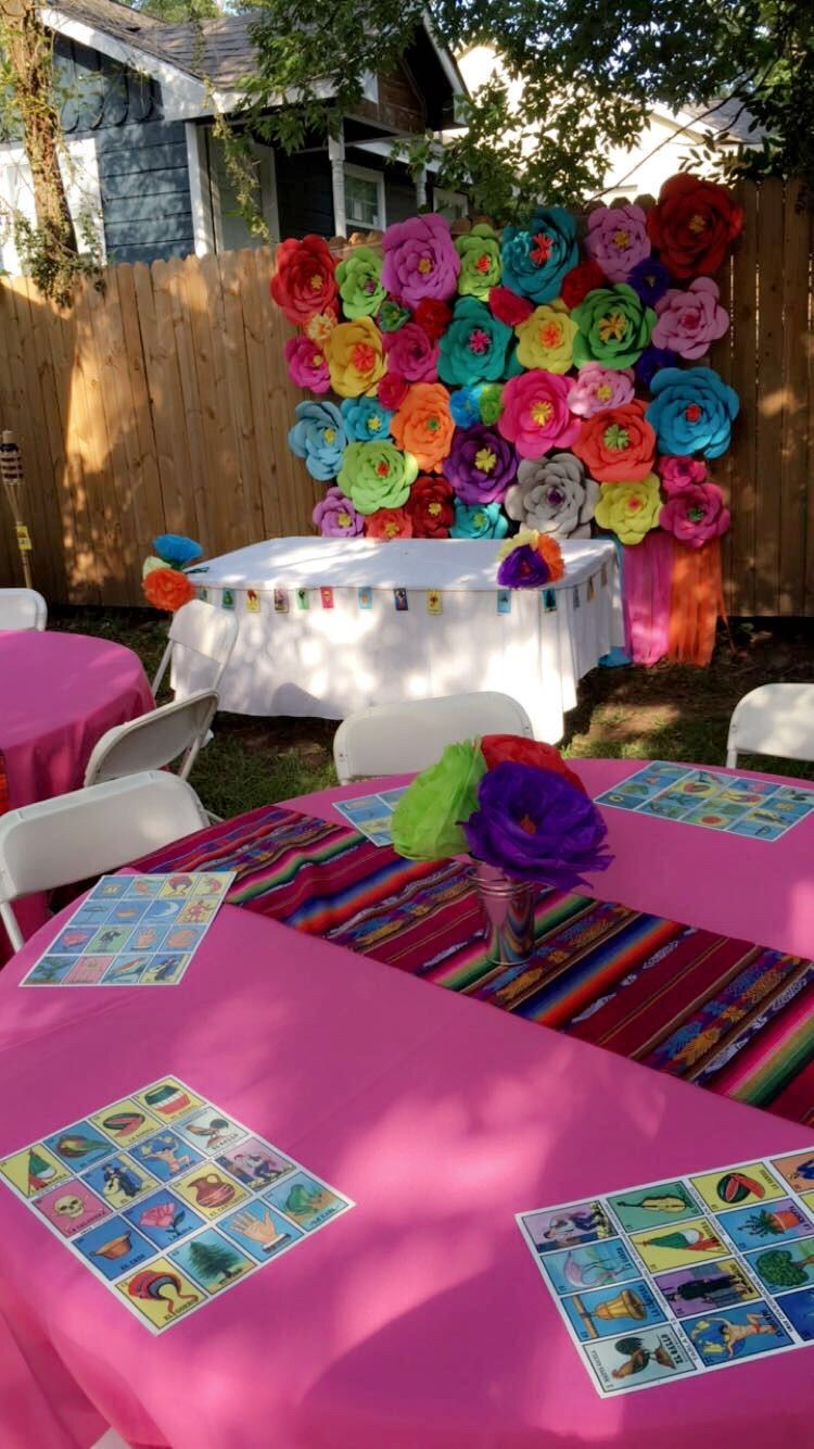 Pink table covers mexican birthday parties fiesta party theme also diy loteria picture frame for fun photos at your rh pinterest