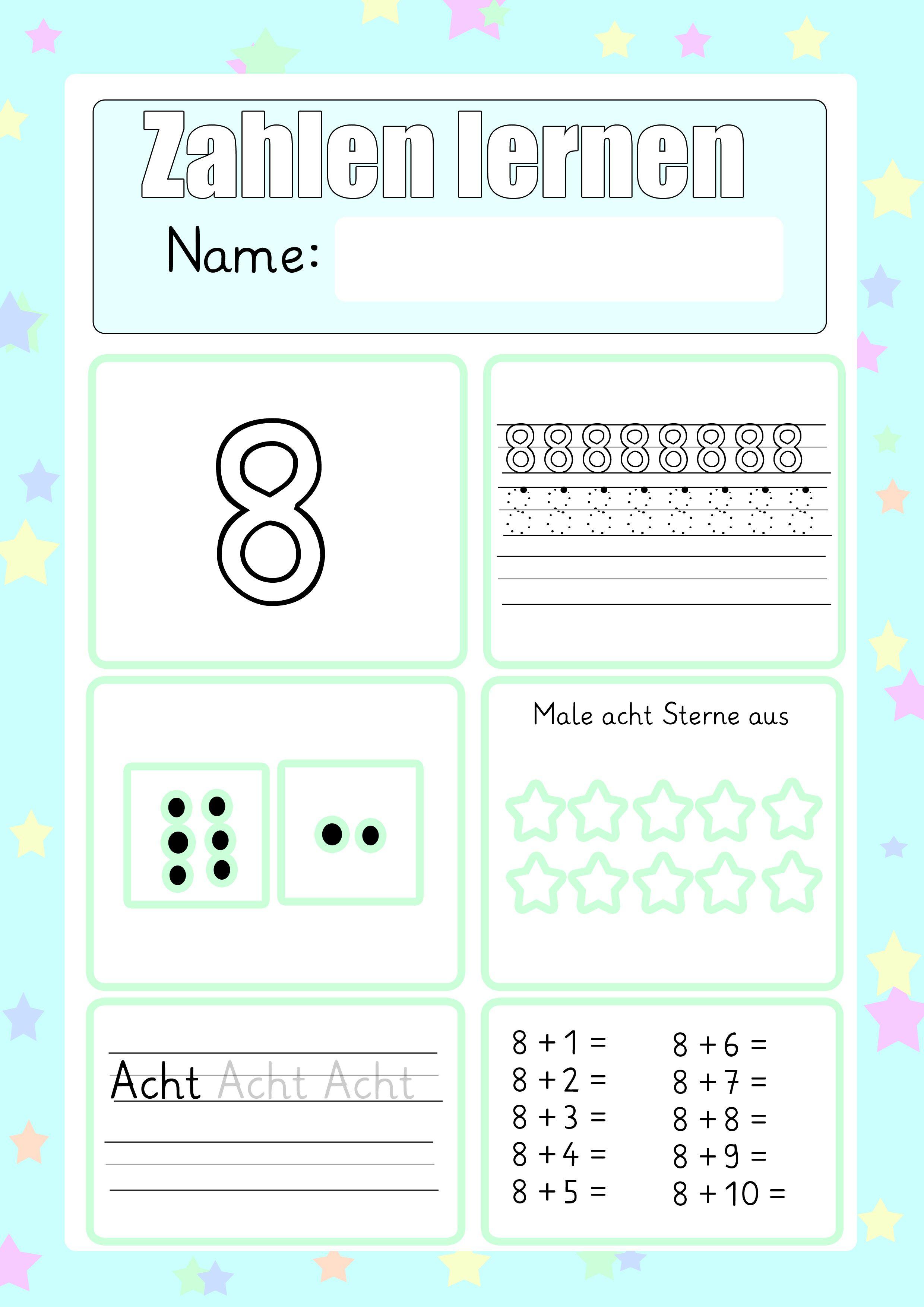 Zahlen Schreiben Lernen Zum Ausdrucken Druckvorlagen Pinterest