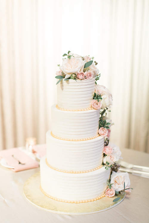 4 Tier White Wedding Cake With Cascading Flowers Bridalbliss