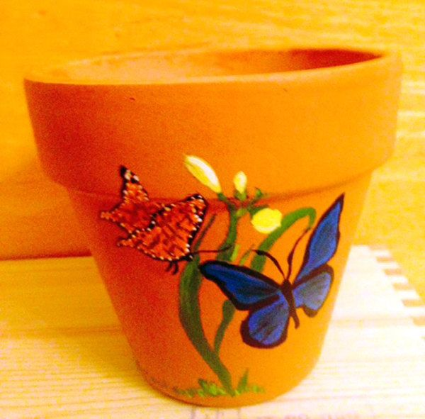 Butterflies Pollinating a Flower Hand Painted on 4.5 Inch Terra Cotta Red Clay Flower Pot Made to Order by AntiquesNOldies on Etsy