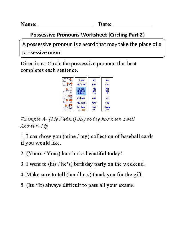Circling Possessive Pronouns Worksheet Part 2 Beginner ...