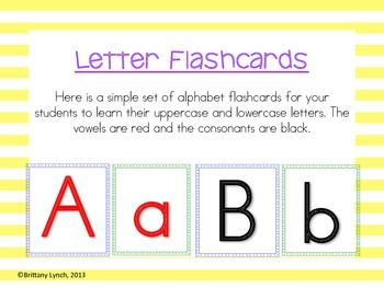 Free  Simple Letter Flashcards  Kindergarten Freebies