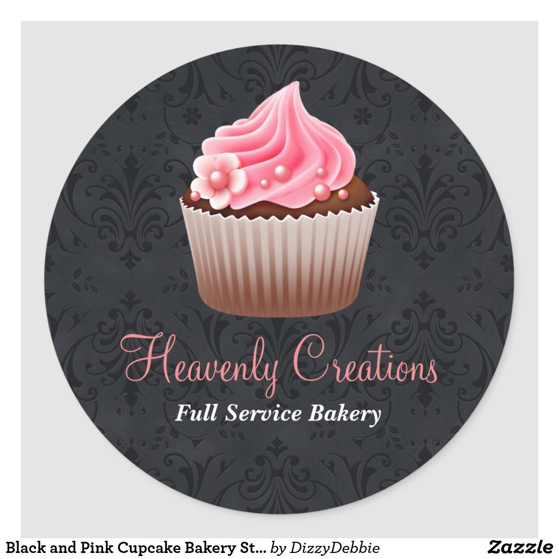 Black And Pink Cupcake Bakery Sticker Zazzle Com Embalagens