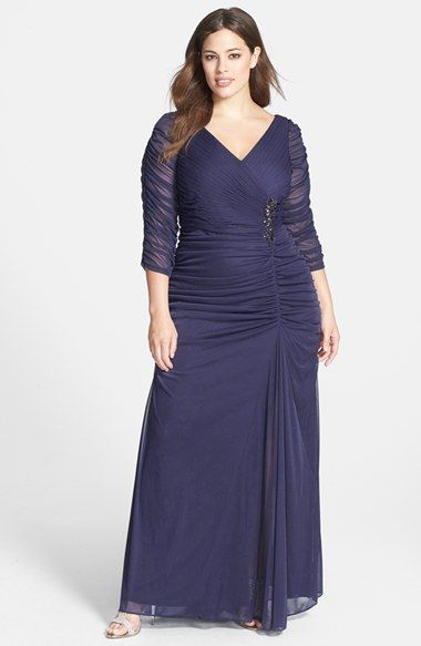 86696069914 Adrianna Papell Beaded Mesh Gown (Plus Size) at Nordstrom.com. Ruched mesh  overlays a statuesque V-neck gown fashioned with sheer three-quarter  sleeves and ...