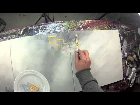 Reverse Video - Abstract acrylic painting demo - Ulex Minor by John Beckley