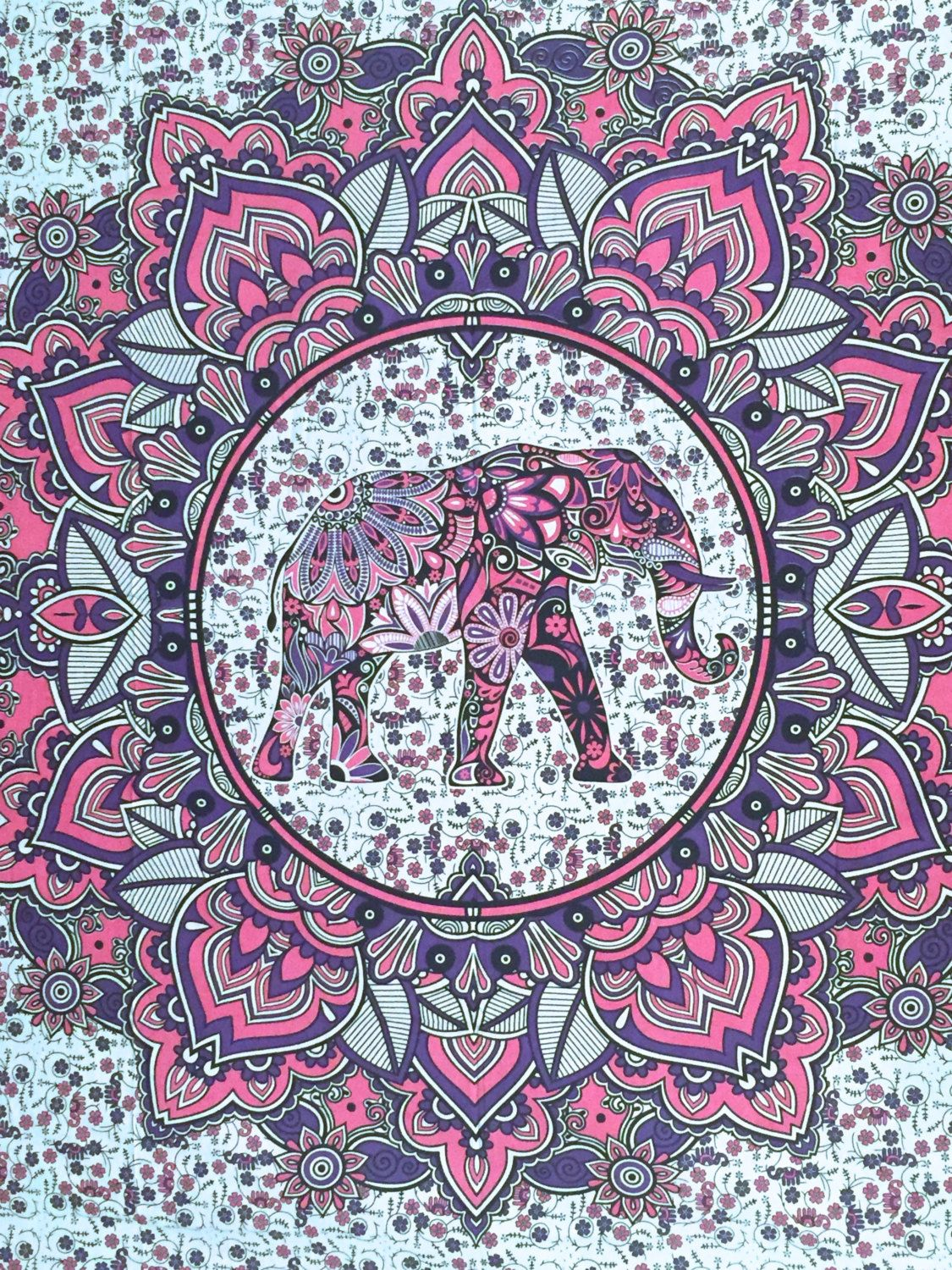 Wallpaper iphone mandala - Queen Mandala Elephant Tapestry Hippie Bohemian Throw Handmade Beach Blanket Dorm Decor Wall Hanging Bright Colors