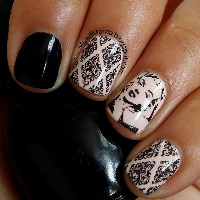 Marilyn Monroe Nails using stamping plate BP-L016 | MixedMama ...