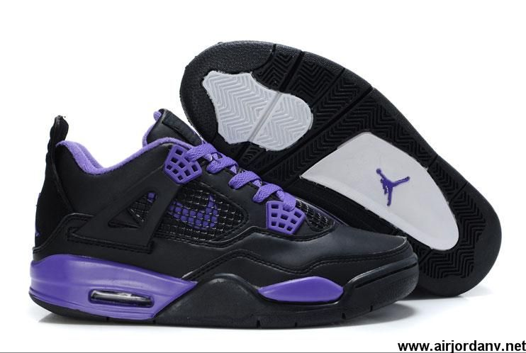 f93712927fb637 Wholesale Discount Women Air Jordans 4 Black Purple Shoes Store ...