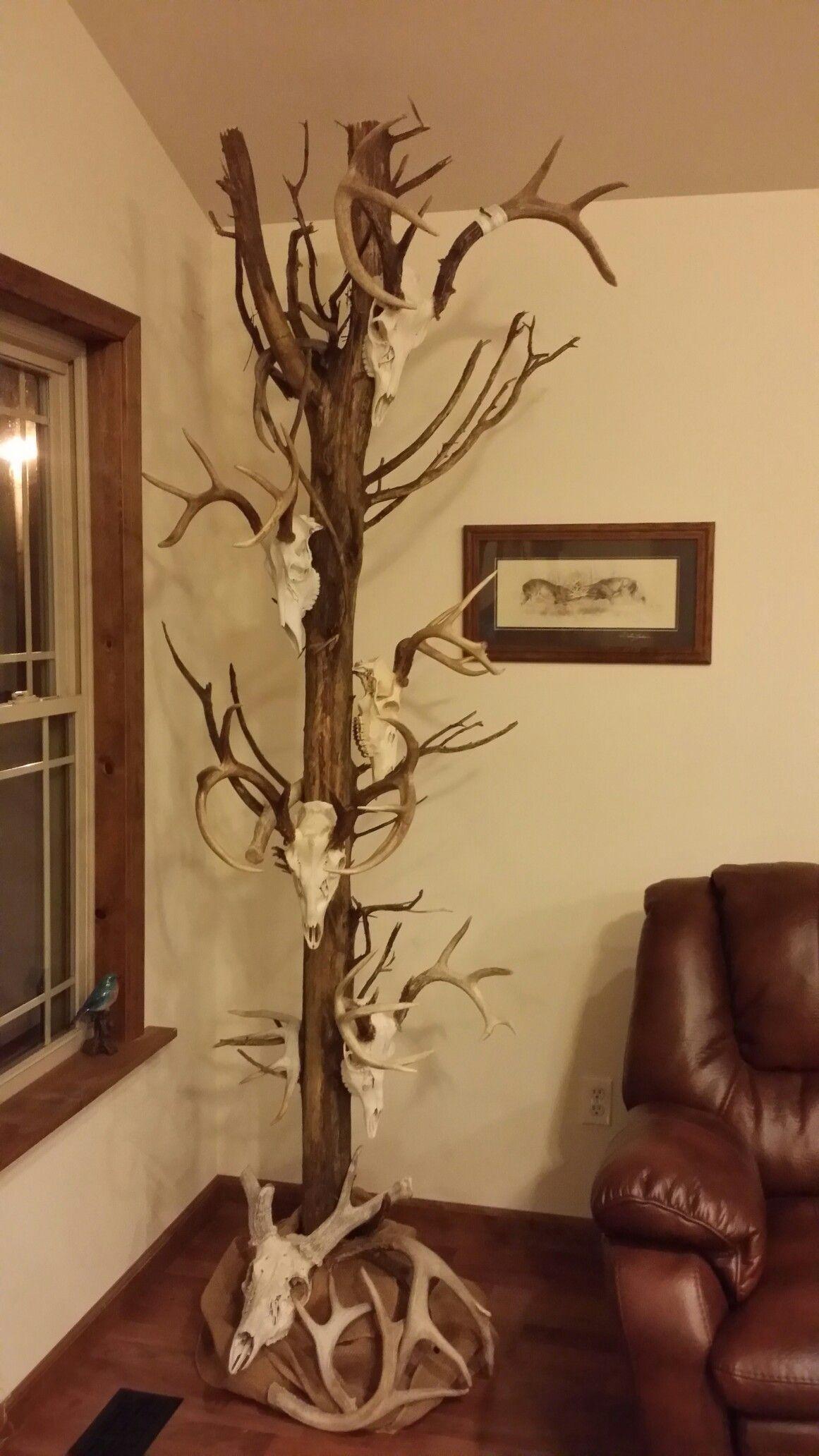 Indoor Skull Tree Display Deer Antler Decor Deer Hunting Decor Antlers Decor