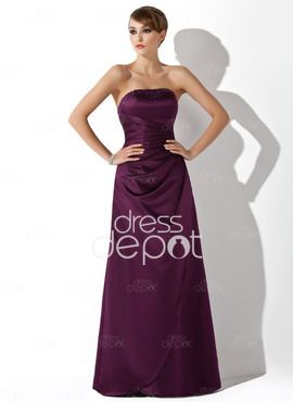 Sheath Strapless Floor-Length Satin Bridesmaid Dress With Ruffle Beading (007001038)