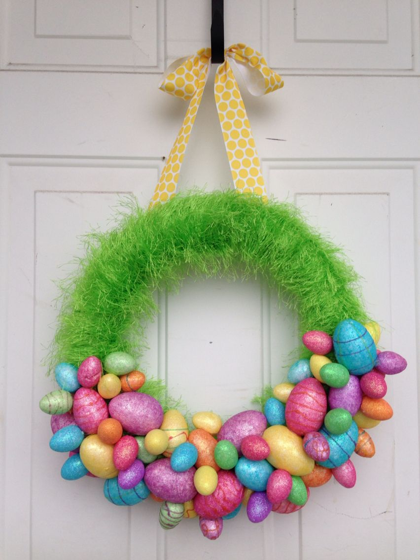 Easter Wreath Styrofoam Wreath Form Wrapped In Fun Fur Yarn Then