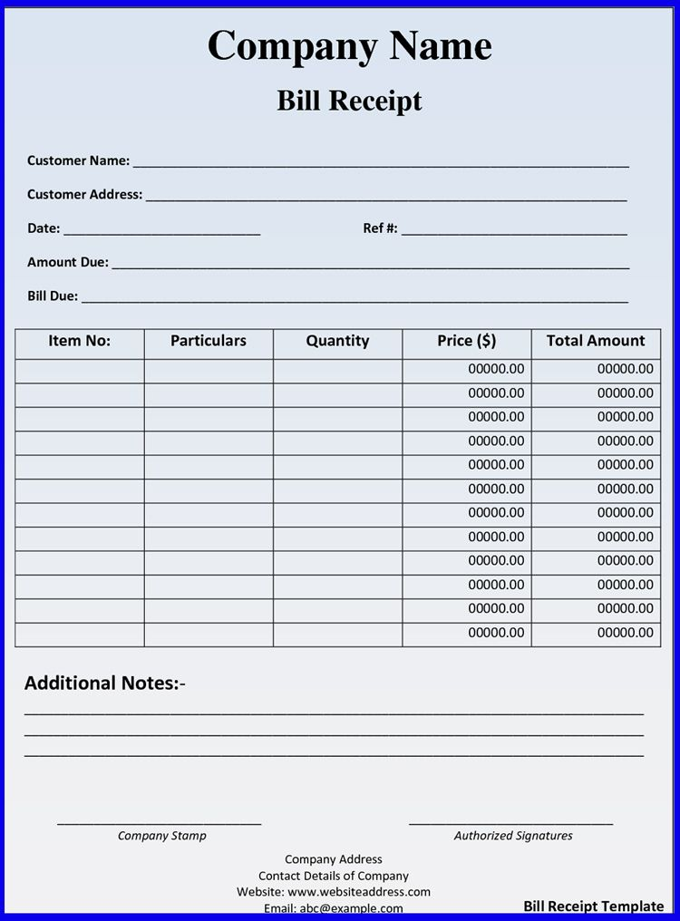 Fillable Hotel Receipt Template