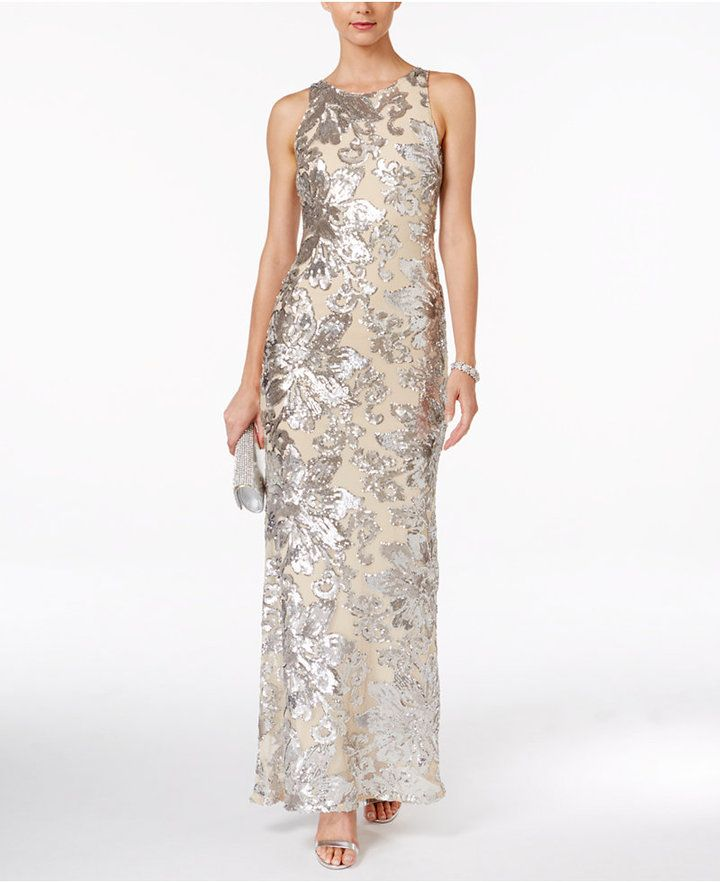 Betsy & Adam Illusion-Back Sequined Gown | Products | Pinterest ...