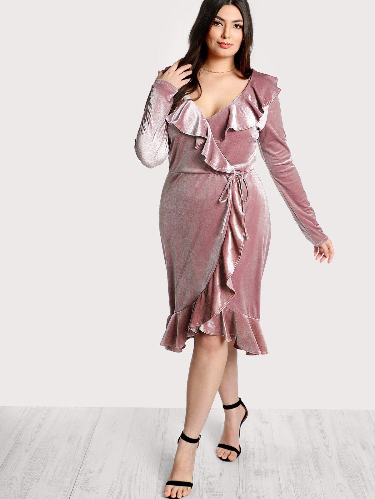 Ruffle trim velvet wrap dress ruffle trim ruffles and wrap dresses