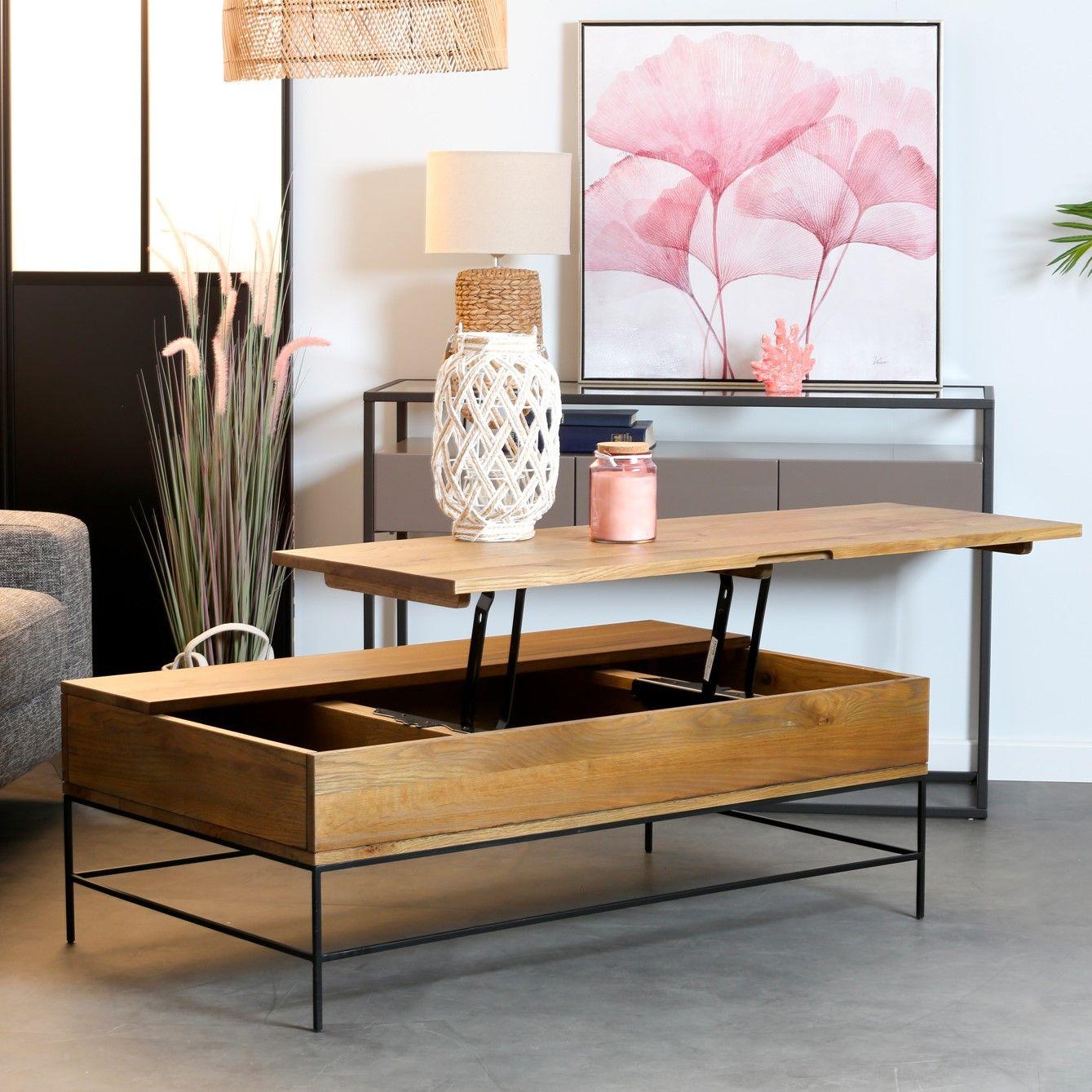 Table Basse Relevable Chene Massif Hudson En 2020 Table Basse Relevable Table Basse Table Basse Rectangulaire