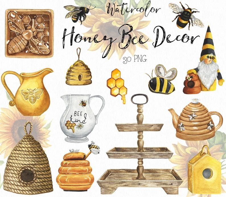 Watercolor Honey Bee Farmhouse Decor Clipart Country Style Etsy In 2021 Honey Bee Decor Bee Decor Honey Bee