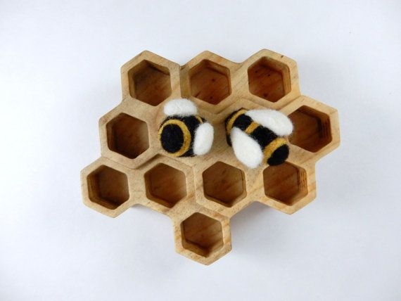 hause of beens honeycomb for bees in carded felted wool waldorf.