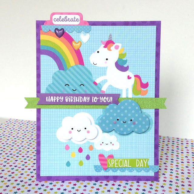Doodlebug Design Inc Blog Fairy Tales Collection Magical Unicorn – Birthday Card Collection