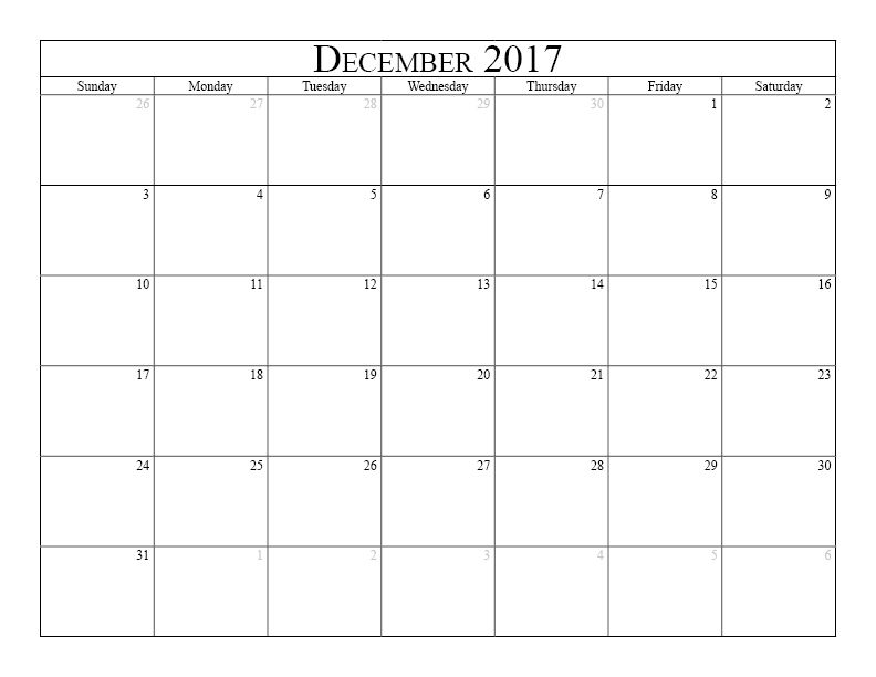 December 2017 Calendar Free printable calendar for December 2017 - printable calendar sample