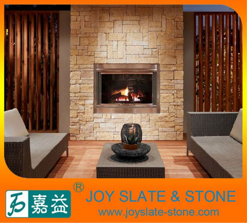 Romano natural de piedra caliza beige chimenea de piedra - Piedras para chimeneas ...