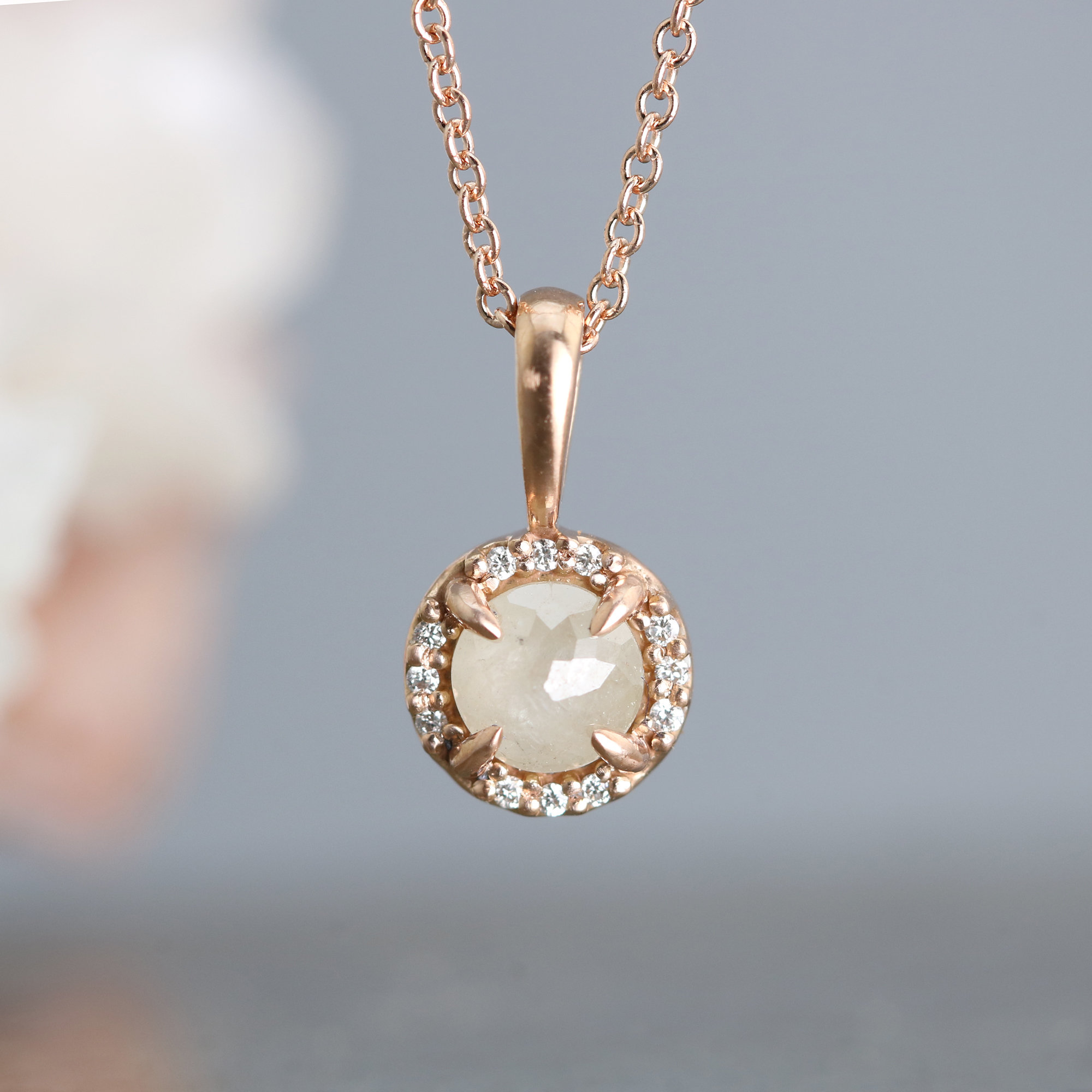 Rose Gold Halo Pendant Necklace By Sarah Hood Gold Stone Necklace Rose Gold Pendant Gold Pendant Stone Pendants